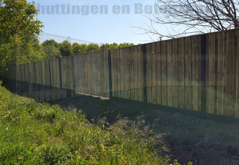 Schutting met 21 planks grenen tuinschermen en dubbele poort