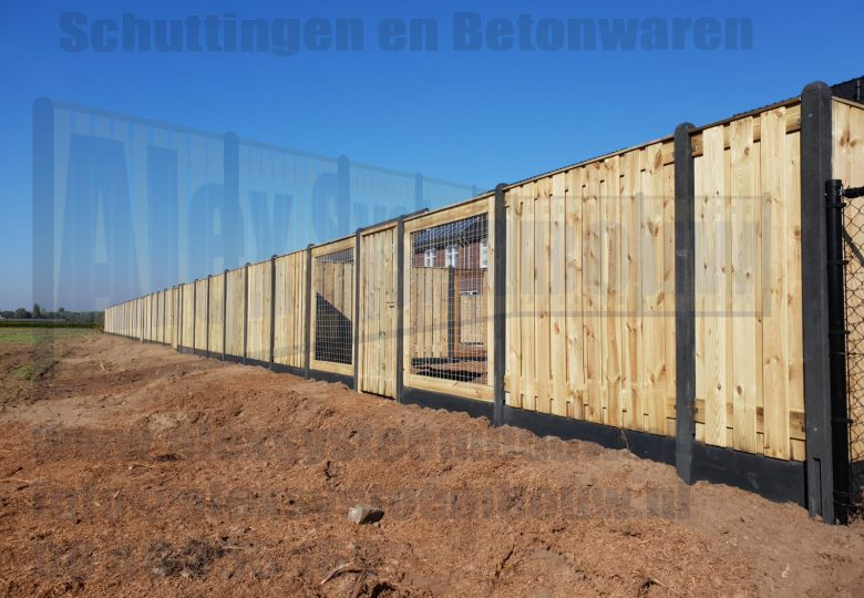 Schutting met 21 planks grenen tuinschermen met poort en gaasdelen