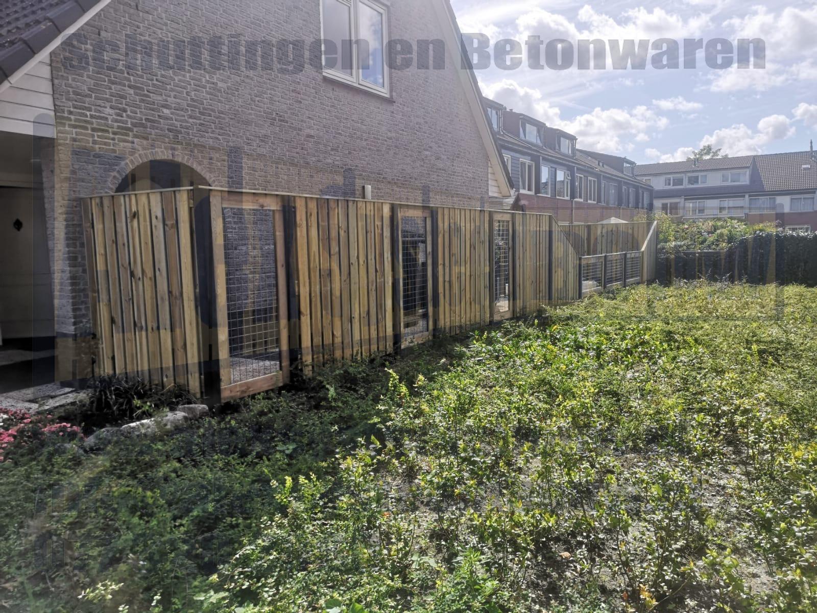 23 planks schutting hout beton met gaas schermen