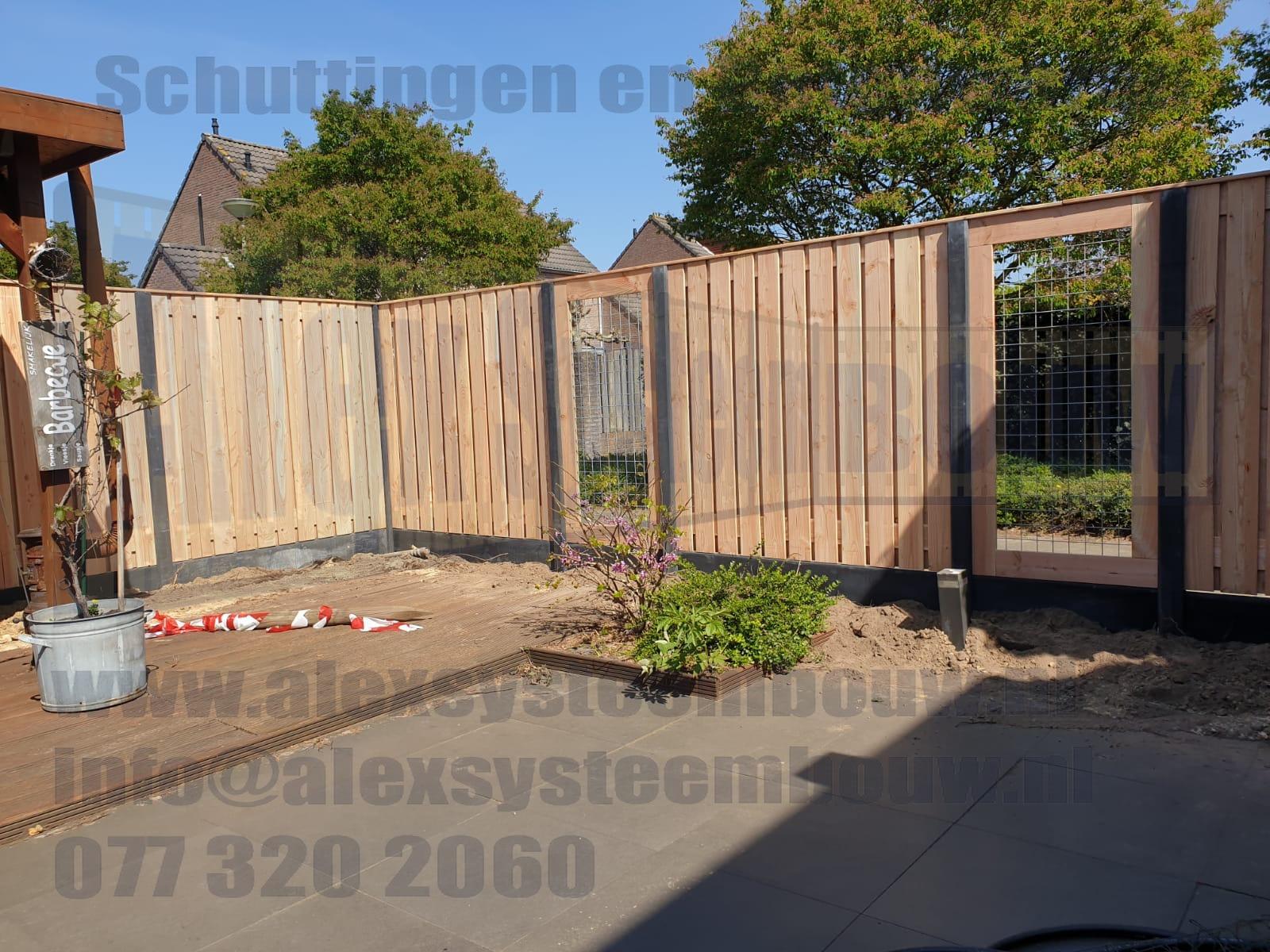 23 planks schutting hout beton lariks douglas met gaas schermen