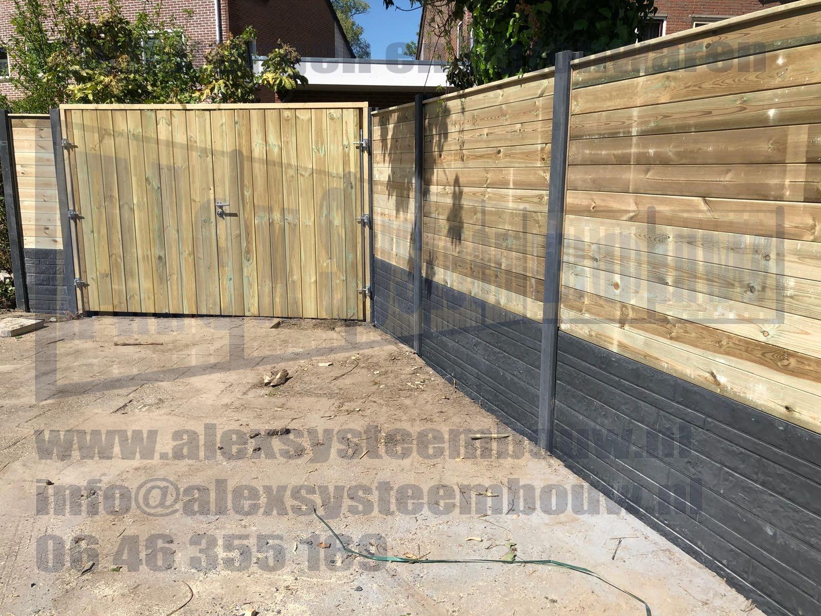 schutting-blokhut-profiel-hout-beton-dubbele-poort