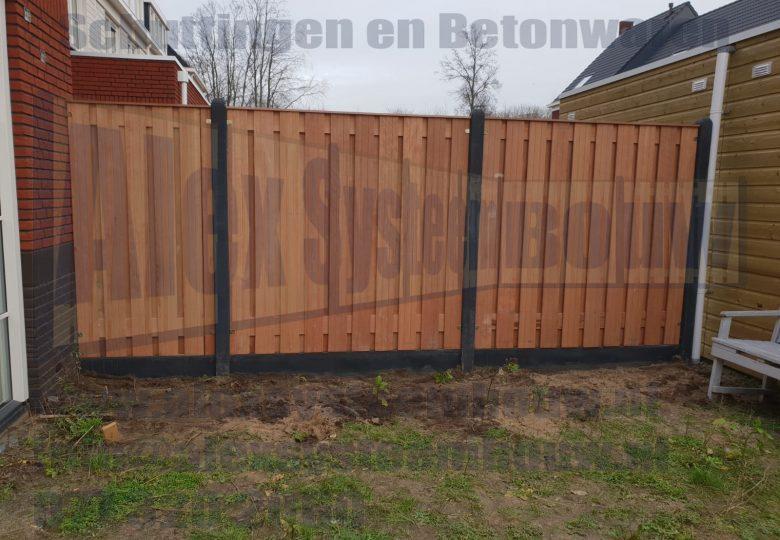 Schutting met 21 planks hardhouten tuinschermen