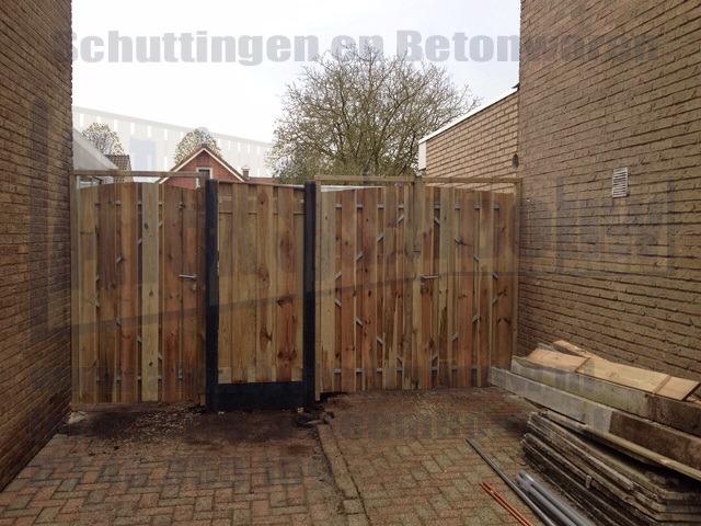 Enkel poort en dubbele poort grenen hout voorzien van toog