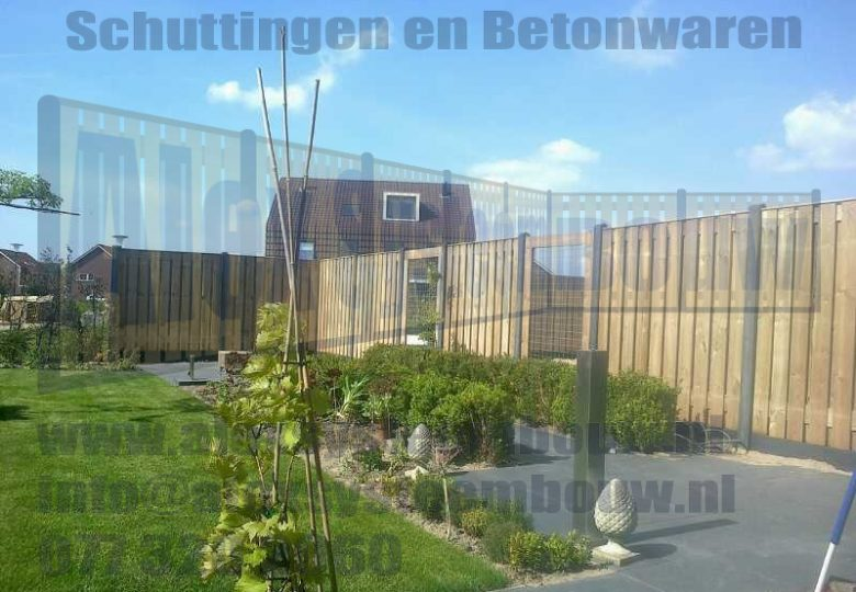 21 planks tuinschermen met gaasdelen